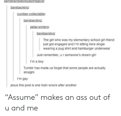 """Ass, Jesus, and School: samshairisobviouslymagical.  barebacking:  cumber-collectable  barebacking:  petal-winters:  barebacking:  The girl who was my elementary school girl friend  just got engaged and I'm sitting here single  wearing a pug shirt and hamburger underwear  Just remember, u r someone's dream girl  I'm a boy  Tumblr has made us forget that some people are actually  straight  'm gay  jesus this post is one train wreck after another """"Assume"""" makes an ass out of u and me"""