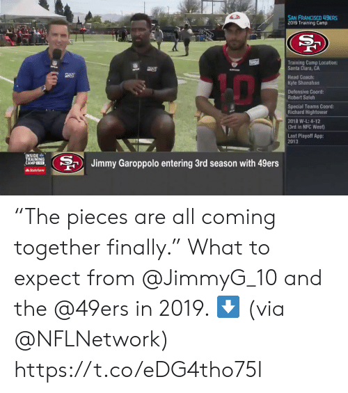 "San Francisco: SAN FRANCISCO 49ERS  2019 Training Camp  Training Camp Location:  Santa Clara, CA  Head Coach:  Kyle Shanahan  Defensive Coord  Robert Saleh  Special Teams Coord:  Richard Hightower  2018 W-L: 4-12  (3rd in NFC West)  Last Playoff App:  2013  INSIDE  TRAINING  CAMP EIVE  BJimmy Garoppolo entering 3rd season with 49ers  AState Farm ""The pieces are all coming together finally.""  What to expect from @JimmyG_10 and the @49ers in 2019. ⬇️  (via @NFLNetwork) https://t.co/eDG4tho75I"