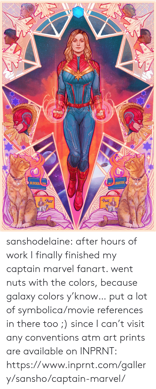 Target, Tumblr, and Work: sanshodelaine: after hours of work I finally finished my captain marvel fanart. went nuts with the colors, because galaxy colors y'know… put a lot of symbolica/movie references in there too ;) since I can't visit any conventions atm art prints are available on INPRNT: https://www.inprnt.com/gallery/sansho/captain-marvel/