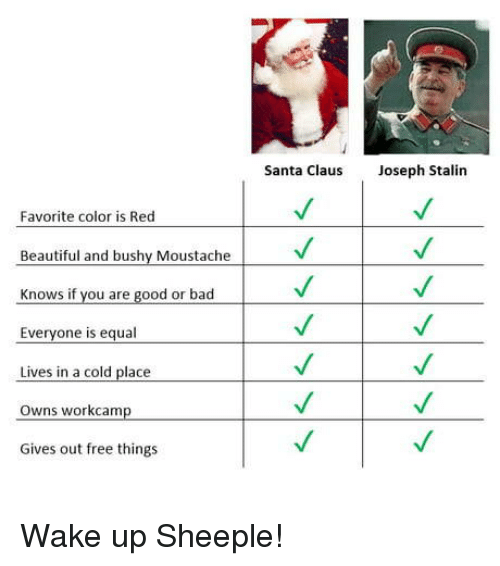 moustache: Santa Claus  Joseph Stalin  Favorite color is Red  Beautiful and bushy Moustache  Knows if you are good or bad  Everyone is equal  Lives in a cold placeV  Owns workcamp  Gives out free things Wake up Sheeple!