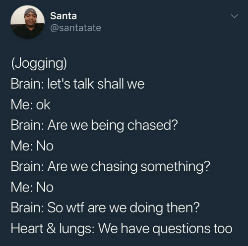Wtf, Brain, and Heart: Santa  @santatate  (Jogging)  Brain: let's talk shall we  Me: ok  Brain: Are we being chased?  Me: No  Brain: Are we chasing something?  Me: No  Brain: So wtf are we doing then?  Heart & lungs: We have questions too