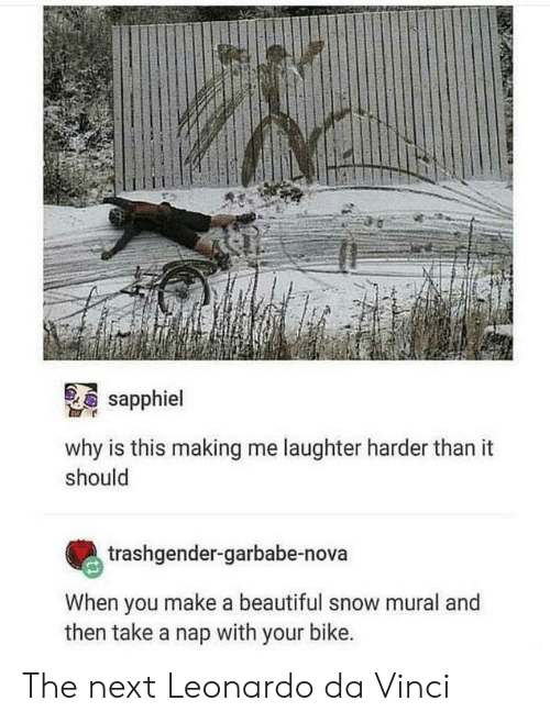 da vinci: sapphiel  why is this making me laughter harder than it  should  trashgender-garbabe-nova  When you make a beautiful snow mural and  then take a nap with your bike. The next Leonardo da Vinci