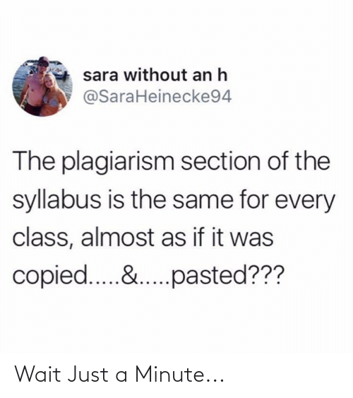 Syllabus: sara without an h  @SaraHeinecke94  The plagiarism section of the  syllabus is the same for every  class, almost as if it was  copied.&.pasted??? Wait Just a Minute...