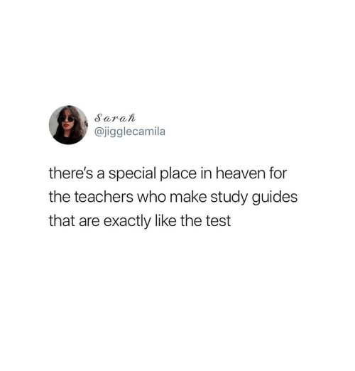 Heaven, Test, and Who: Sarat  @jigglecamila  there's a special place in heaven for  the teachers who make study guides  that are exactly like the test