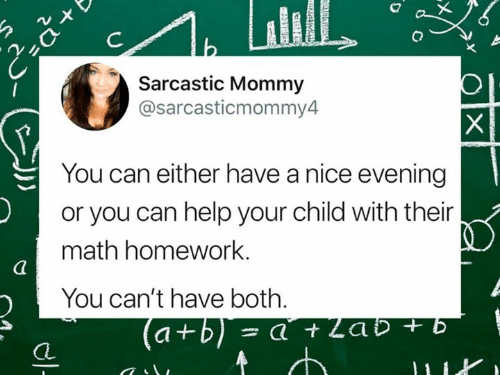 Memes, Help, and Math: Sarcastic Mommy  @sarcasticmommy4  You can either have a nice evening  or you can help your child with their  math homework.  You can't have both.  CL
