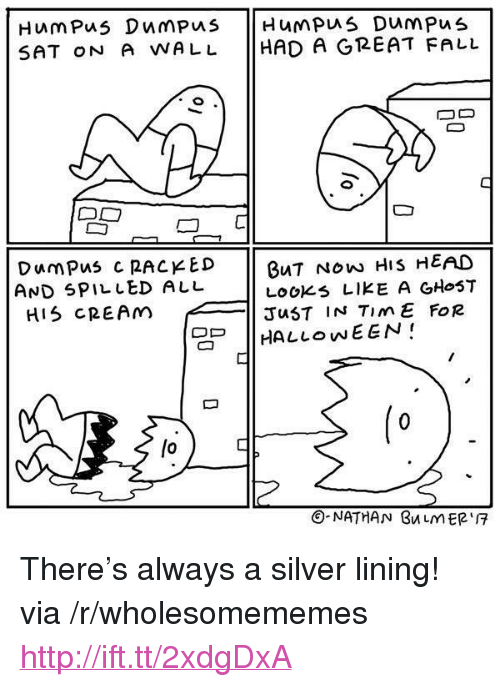 "racked: SAT oN A WALL HAD A GREAT FALL  DumPus C RACKED  AND SPILLED ALL  HIS CREAM  BuT NOw HIS HEAD  LOOKs LIKE A GHoST  JuST IN TimE FoR  | HALLOWEEN!  lo  O-NATHAN BuLMER <p>There's always a silver lining! via /r/wholesomememes <a href=""http://ift.tt/2xdgDxA"">http://ift.tt/2xdgDxA</a></p>"
