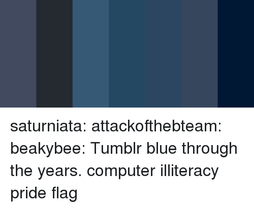 Tumblr, Blog, and Blue: saturniata: attackofthebteam:  beakybee: Tumblr blue through the years. computer illiteracy pride flag