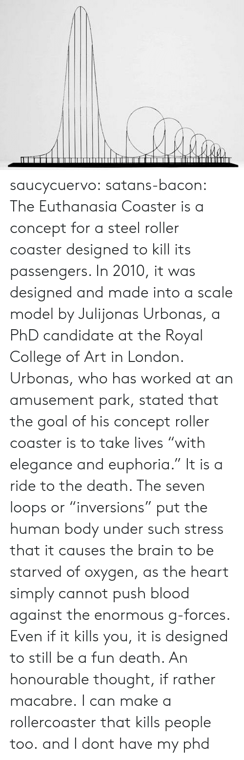 """loops: saucycuervo:  satans-bacon:  The Euthanasia Coaster is a concept for a steel roller coaster designed to kill its passengers. In 2010, it was designed and made into a scale model by Julijonas Urbonas, a PhD candidate at the Royal College of Art in London. Urbonas, who has worked at an amusement park, stated that the goal of his concept roller coaster is to take lives """"with elegance and euphoria."""" It is a ride to the death. The seven loops or """"inversions"""" put the human body under such stress that it causes the brain to be starved of oxygen, as the heart simply cannot push blood against the enormous g-forces. Even if it kills you, it is designed to still be a fun death. An honourable thought, if rather macabre.  I can make a rollercoaster that kills people too. and I dont have my phd"""