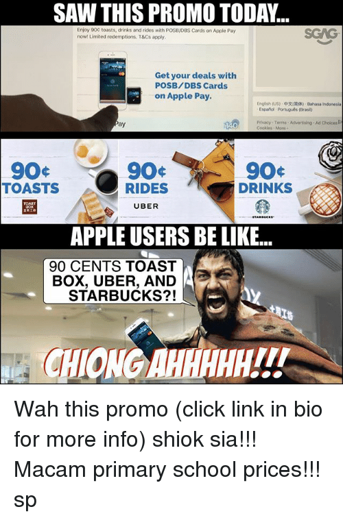 bahasa indonesia: SAW THIS PROMO TODA...  Enjoy 90C toasts, drinks andrides with POSB/DBS Cards on Apple Pay  now! Limited redemptions. T&Cs apply.  Get your deals with  POSB/DBS Cards  on Apple Pay.  English (US) EhRIMM) Bahasa Indonesia  Espanol Portuguls (Brasi0  Privacy Terms Advertising Ad Choices  ay  90  TOASTS  DRINKS  RIDES  UBER  APPLEUSERS BE LIKE...  90 CENTS TOAST  UBER, AND  STARBUCKS?!  CHKONGAHE Wah this promo (click link in bio for more info) shiok sia!!! Macam primary school prices!!! sp