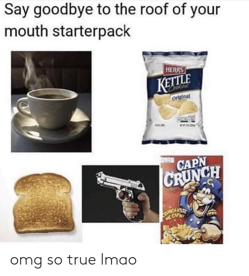 Lmao, Omg, and True: Say goodbye to the roof of your  mouth starterpack  HERRS  KETLE  original  CAPN  CH omg so true lmao