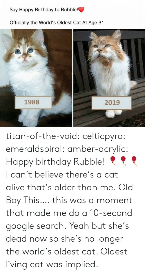 Happy Birthday: Say Happy Birthday to Rubble!  Officially the World's Oldest Cat At Age 31  1988  2019 titan-of-the-void: celticpyro:   emeraldspiral:  amber-acrylic: Happy birthday Rubble! 🎈🎈🎈 I can't believe there's a cat alive that's older than me.  Old Boy   This…. this was a moment that made me do a 10-second google search. Yeah but she's dead now so she's no longer the world's oldest cat. Oldest living cat was implied.