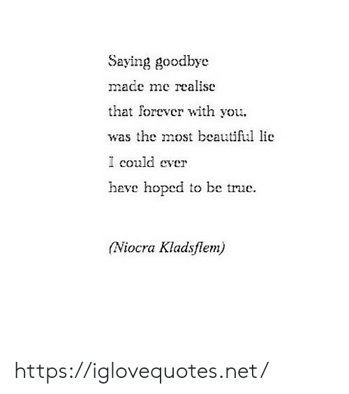 Beautiful, True, and Forever: Saying goodbye  made me realise  that forever with you  was the most beautiful lie  I could  cver  have hoped to be true  (Niocra Kladsflem) https://iglovequotes.net/