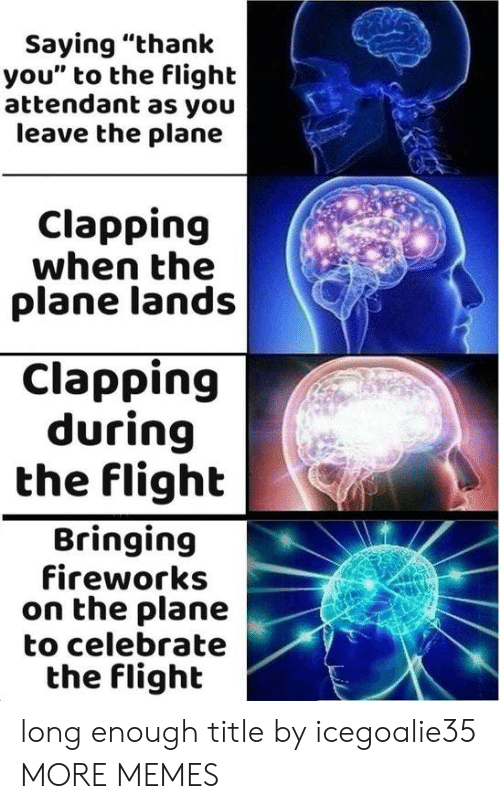 """Dank, Memes, and Target: Saying """"thank  you"""" to the flight  attendant as you  leave the plane  Clapping  when the  plane lands  Clapping  during  the flight  Bringing  fireworks  on the plane  to celebrate  the flighlt long enough title by icegoalie35 MORE MEMES"""