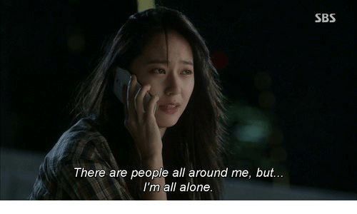 Being Alone, All, and Sbs: SBS  There are people all around me, but...  I'm all alone
