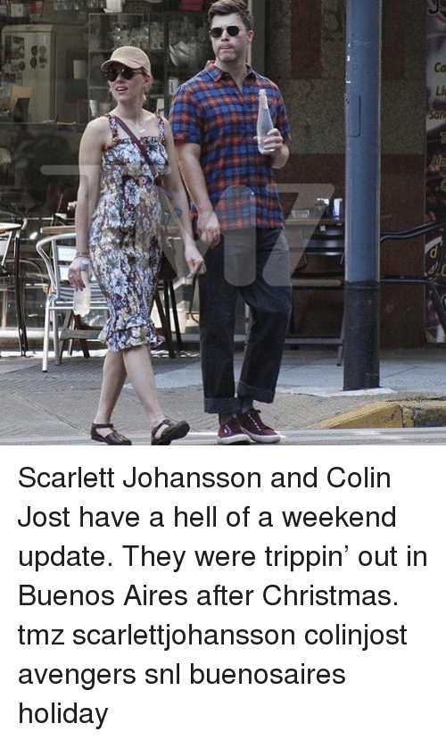trippin: Scarlett Johansson and Colin Jost have a hell of a weekend update. They were trippin' out in Buenos Aires after Christmas. tmz scarlettjohansson colinjost avengers snl buenosaires holiday