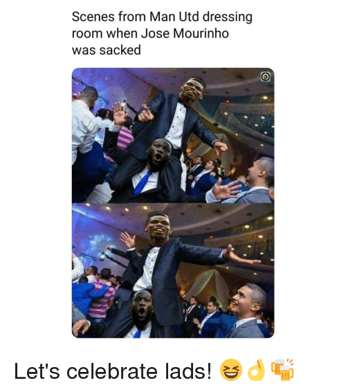 Memes, José Mourinho, and 🤖: Scenes from Man Utd dressing  room when Jose Mourinho  was sacked Let's celebrate lads! 😆👌🍻