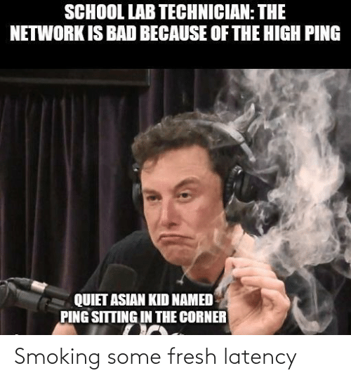 Asian, Bad, and Fresh: SCHOOL LAB TECHNICIAN: THE  NETWORK IS BAD BECAUSE OF THE HIGH PING  QUIET ASIAN KID NAMED  PING SITTING IN THE CORNER Smoking some fresh latency