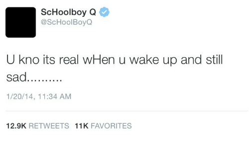 ScHoolboy Q, Schoolboy, and Wake: ScHoolboy Q  @ScHoolBoyQ  U kno its real wHen u wake up and still  1/20/14, 11:34 AM  12.9K RETWEETS 11K FAVORITES