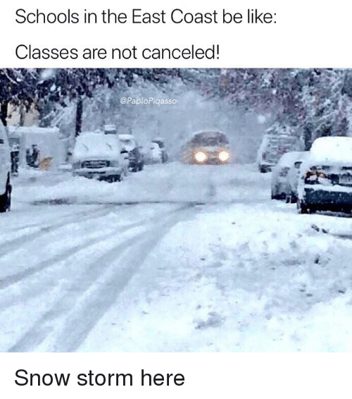 Be Like, Memes, and Snow: Schools in the East Coast be like:  Classes are not canceled!  @PabloPiqasso Snow storm here
