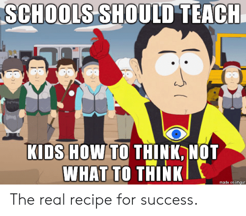 How To, Kids, and The Real: sCHooLS SHOULD TEACI  KIDS HOW TO THINK NOT  WHAT TO THINK  made on imgun The real recipe for success.