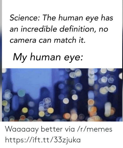 Memes, Camera, and Definition: Science: The human eye has  an incredible definition, no  camera can match it.  My human eye: Waaaaay better via /r/memes https://ift.tt/33zjuka