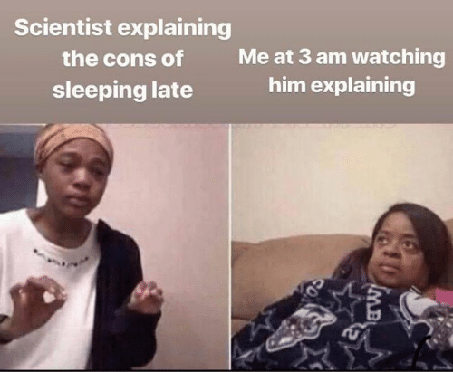 Memes, Sleeping, and 🤖: Scientist explaining  Me at 3 am watching  him explaining  the cons of  sleeping late  IMB