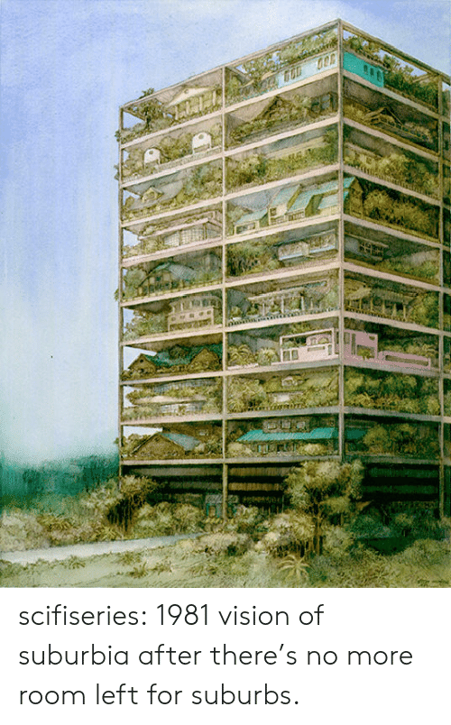 Vision: scifiseries:  1981 vision of suburbia after there's no more room left for suburbs.