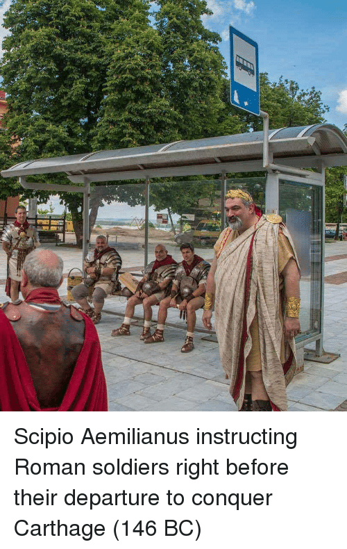 carthage: Scipio Aemilianus instructing Roman soldiers right before their departure to conquer Carthage (146 BC)