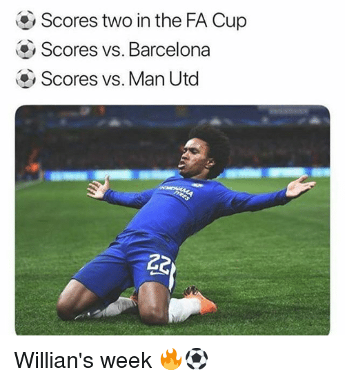 Barcelona, Memes, and 🤖: Scores two in the FA Cup  Scores vs. Barcelona  Scores vs. Man Utod Willian's week 🔥⚽️