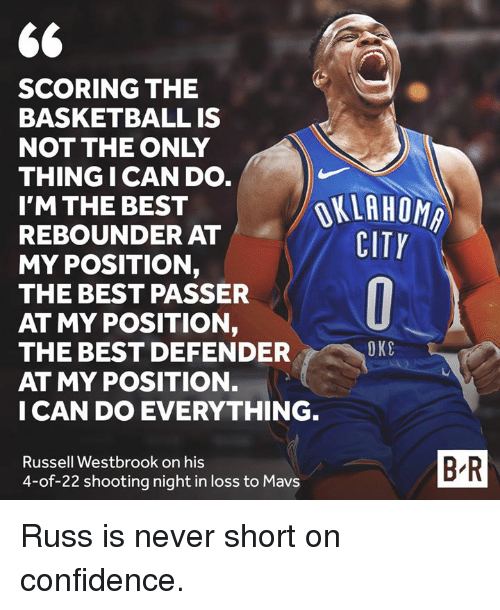 Oklahoma: SCORING THE  BASKETBALL IS  NOT THE ONLY  THING I CAN DO  I'M THE BEST  REBOUNDER AT  MY POSITION,  THE BEST PASSER  AT MY POSITION,  THE BEST DEFENDER  AT MY POSITION.  I CAN DO EVERYTHING  OKLAHOMA  CITY  OKC  Russell Westbrook on his  4-of-22 shooting night in loss to Mavs  B-R Russ is never short on confidence.