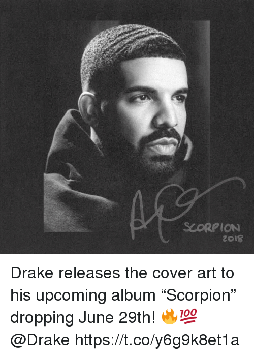 "Drake, Scorpion, and Art: SCORPION Drake releases the cover art to his upcoming album ""Scorpion"" dropping June 29th! 🔥💯 @Drake https://t.co/y6g9k8et1a"