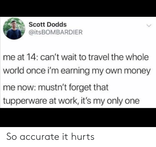 So Accurate: Scott Dodds  @itsBOMBARDIER  me at 14: can't wait to travel the whole  world once i'm earning my own money  me now: mustn't forget that  tupperware at work, it's my only one So accurate it hurts