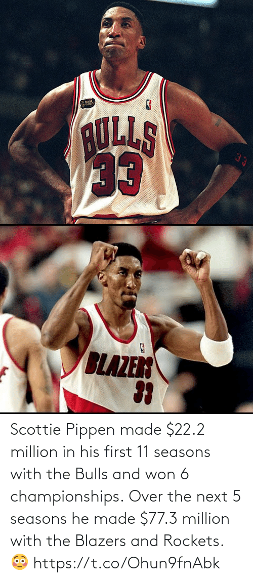 rockets: Scottie Pippen made $22.2 million in his first 11 seasons with the Bulls and won 6 championships.  Over the next 5 seasons he made $77.3 million with the Blazers and Rockets. 😳 https://t.co/Ohun9fnAbk