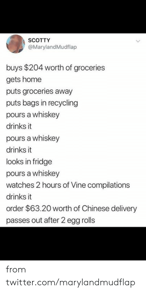 fridge: SCOTTY  @MarylandMudflap  buys $204 worth of groceries  gets home  puts groceries away  puts bags in recycling  pours a whiskey  drinks it  pours a whiskey  drinks it  looks in fridge  pours a whiskey  watches 2 hours of Vine compilations  drinks it  order $63.20 worth of Chinese delivery  passes out after 2 egg rolls from twitter.com/marylandmudflap