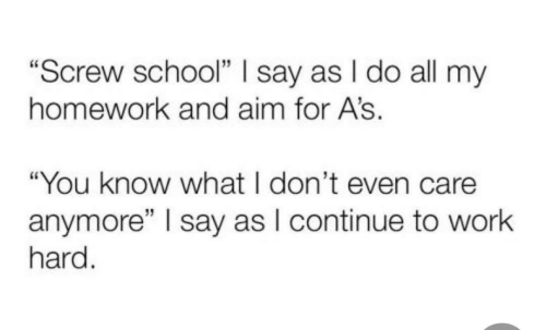 """School, Work, and Homework: """"Screw school"""" I say as I do all my  homework and aim for A's.  """"You know what I don't even care  anymore"""" I say as I continue to work  hard."""