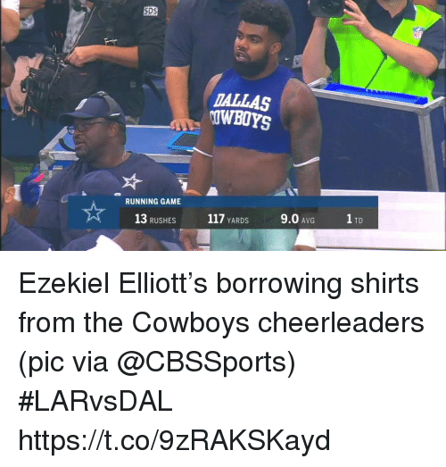 Cbssports: SDS  DALLAS  OWBOYS  RUNNING GAME  13 RUSHES  117 YARDS  9.0 AVG  1 TD Ezekiel Elliott's borrowing shirts from the Cowboys cheerleaders   (pic via @CBSSports) #LARvsDAL https://t.co/9zRAKSKayd
