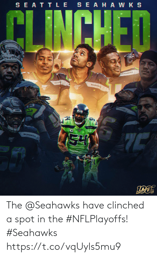 Seahawks: SE ATTLE SEAHA W K S  CLINCHED  KEANAWKS  SEAHA  SEAHAWS  SEA  SEAHAWKS The @Seahawks have clinched a spot in the #NFLPlayoffs! #Seahawks https://t.co/vqUyls5mu9