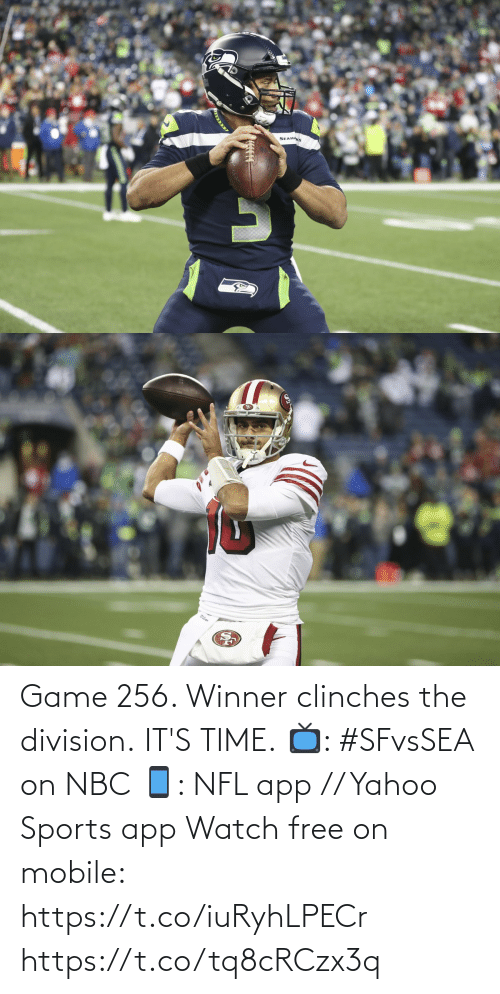 winner: SEAHAKS Game 256. Winner clinches the division.  IT'S TIME.  📺: #SFvsSEA on NBC 📱: NFL app // Yahoo Sports app Watch free on mobile: https://t.co/iuRyhLPECr https://t.co/tq8cRCzx3q