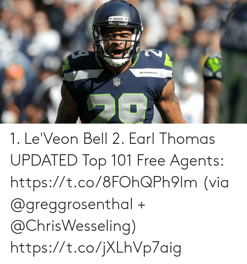 Memes, Free, and Seahawks: SEAHAWKS 1. Le'Veon Bell 2. Earl Thomas  UPDATED Top 101 Free Agents: https://t.co/8FOhQPh9lm (via @greggrosenthal + @ChrisWesseling) https://t.co/jXLhVp7aig