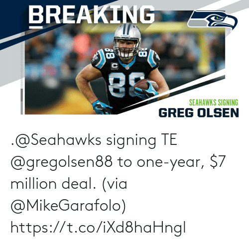 Seahawks: .@Seahawks signing TE @gregolsen88 to one-year, $7 million deal. (via @MikeGarafolo) https://t.co/iXd8haHngl