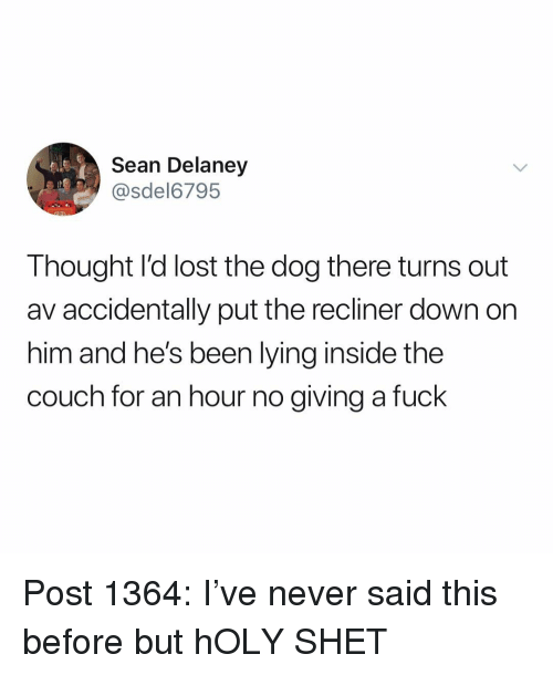 Memes, Lost, and Couch: Sean Delaney  @sdel6795  Thought l'd lost the dog there turns out  av accidentally put the recliner down on  him and he's been lying inside the  couch for an hour no giving a fuck Post 1364: I've never said this before but hOLY SHET