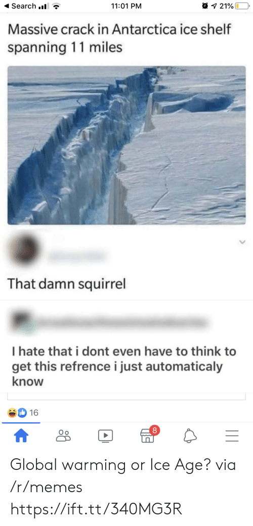 Squirrel: Search .  11:01 PM  21%  Massive crack in Antarctica ice shelf  spanning 11 miles  That damn squirrel  I hate that i dont even have to think to  get this refrencei just automaticaly  know  16  |II  A Global warming or Ice Age? via /r/memes https://ift.tt/340MG3R