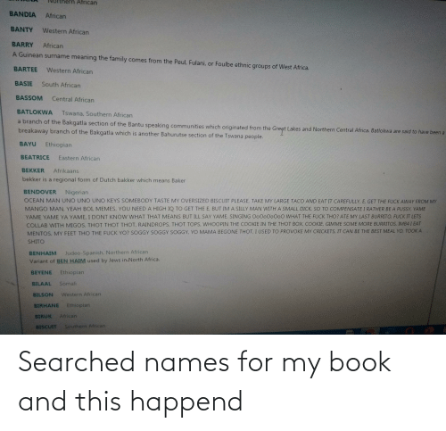 names: Searched names for my book and this happend