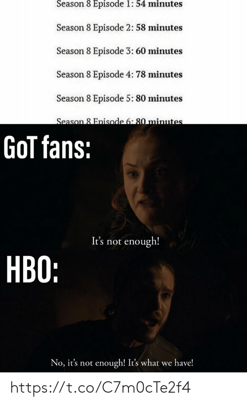 episode 3: Season 8 Episode 1: 54 minutes  Season 8 Episode 2: 58 minutes  Season 8 Episode 3: 60 minutes  Season 8 Episode 4: 78 minutes  Season 8 Episode 5: 80 minutes  Season 8 Enisode 6:80 minute  GoT fans:  It's not enough!  HBO:  No, it's not enough! It's what we have! https://t.co/C7m0cTe2f4