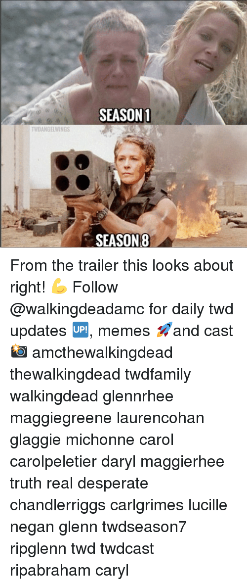 negan: SEASON1  WDANGELWINGS  SEASON8 From the trailer this looks about right! 💪 Follow @walkingdeadamc for daily twd updates 🆙, memes 🚀and cast 📸 amcthewalkingdead thewalkingdead twdfamily walkingdead glennrhee maggiegreene laurencohan glaggie michonne carol carolpeletier daryl maggierhee truth real desperate chandlerriggs carlgrimes lucille negan glenn twdseason7 ripglenn twd twdcast ripabraham caryl