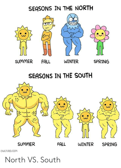 Owlturd: SEASONS IN THE NORTH  SUMMER FALL  WINTER  SPRING  SEASONS IN THE SOUTH  SUMMER  FALL  WINTER  SPRING  OWLTURD.COM  3  :3 North VS. South