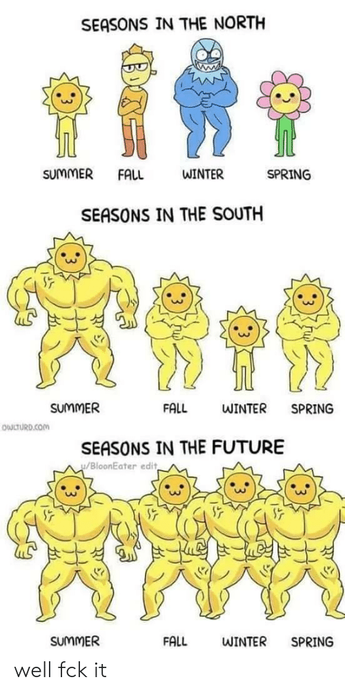 Fall, Future, and Winter: SEASONS IN THE NORTH  tite  SUMMER  FALL  WINTER  SPRING  SEASONS IN THE SOUTH  FALL  SUMMER  WINTER  SPRING  OWLTURD.COM  SEASONS IN THE FUTURE  BloonEater edit  SUUMMER  FALL  WINTER  SPRING well fck it