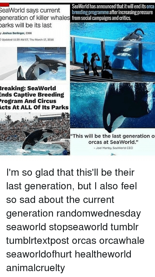 "SeaWorld: SeaWorld has announced thatitwillendits orca  SeaWorld says current  breeding programmeafterincreasingpressure  generation of killer whale  s from social campaigns and critics.  Darks will be its last  y Joshua Berlinger, CNN  Updated 11:29 AM ET Thu March 17, 2016  Breaking: SeaWorld  ends Captive Breeding  Program And Circus  Acts At ALL Of Its Parks  orcas at SeaWorld.""  Joel Manby, SeaWorld CEO I'm so glad that this'll be their last generation, but I also feel so sad about the current generation randomwednesday seaworld stopseaworld tumblr tumblrtextpost orcas orcawhale seaworldofhurt healtheworld animalcruelty"