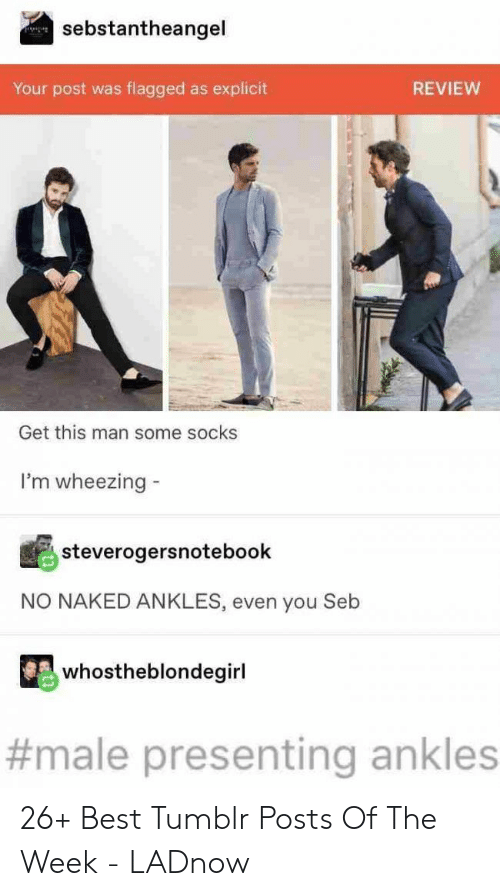 Tumblr, Best, and Naked: sebstantheangel  flagged as explicit  Your post was  REVIEW  Get this man some socks  I'm wheezing  steverogersnotebook  NO NAKED ANKLES, even you Seb  whostheblondegirl  #male presenting ankles 26+ Best Tumblr Posts Of The Week - LADnow