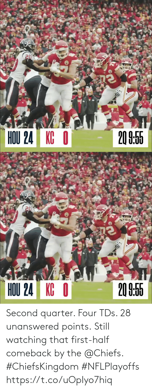 Half: Second quarter. Four TDs. 28 unanswered points.  Still watching that first-half comeback by the @Chiefs. #ChiefsKingdom #NFLPlayoffs https://t.co/uOpIyo7hiq